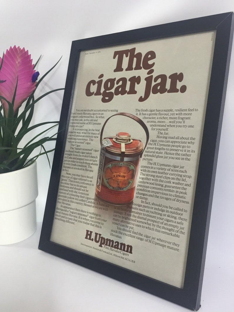 571eee9c187c H Upmann Framed Advert Vintage Cigar Poster Frame Cigar Jar   Etsy