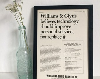 Williams and Glyn's Bank Ltd Technology A4 Old Fashioned Vintage Framed Advert Good Year Advertisment 1976 Retro Classic