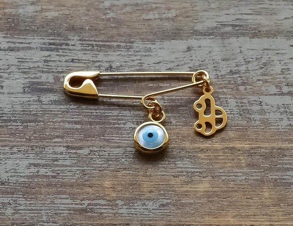 Personalized Baby Gift Pin Baby Shower Gift New Baby Good Luck Eye Safety Pin Charm Brooch Baby Protection Jewelry Newborn Gift 9K 14K