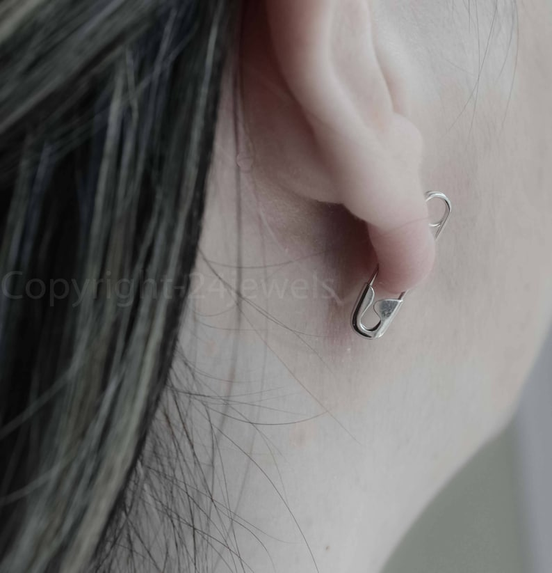 34/'/' Sterling Silver Safety Pin Earring Jewelry Safety Pin Movement Solidarity Pin Safety Pin Safety Pin Safe Place Gift