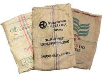 f06e6516f5 3 (THREE) Used Coffee Bean Burlap Bags - Burlap Coffee Bags - Coffee bean  sack - organic recycling