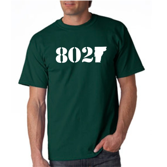 b1ae022b9c5e33 802 Vermont Classic T-Shirt White on Forest Green T-Shirt