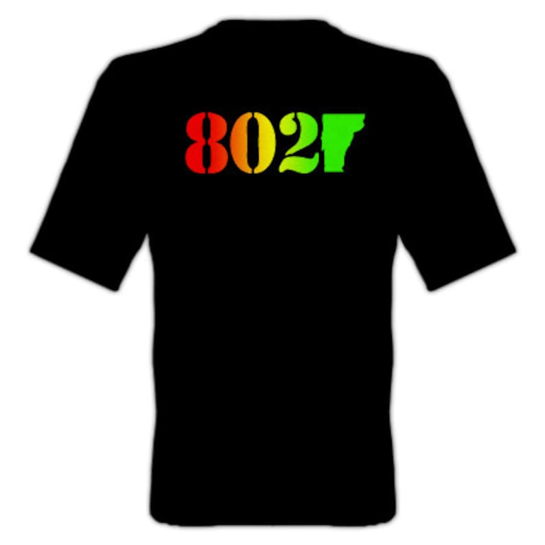 5d50afa69973db 802 Classic Vermont T-Shirt Rasta red Yellow Green 802 on