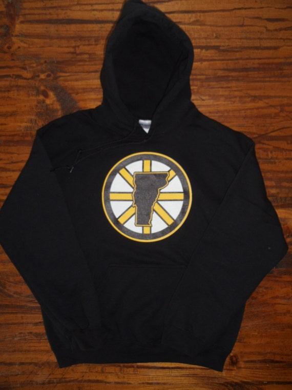 Vermont Boston Bruins Hockey Hooded Sweatshirt Gold on Black  ae7e11b447d