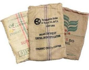 3 (THREE) Used Coffee Bean Burlap Bags - Burlap Coffee Bags - Coffee bean sack - organic recycling