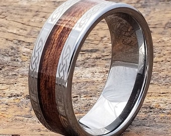 ed39f6af42 Men Tungsten Wood Ring, Wood Engagement Band, Celtic Wedding Band, Men's  Tungsten Ring, Tungsten Band, Women Celtic Ring, Wood Inlay Ring