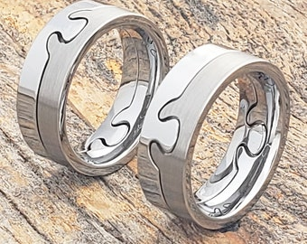 Puzzle Ring Tungsten Wedding Band Womens Wedding Band Mens Etsy