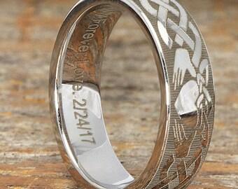 tungsten rings custom engraving claddagh rings by tungstenringsfm
