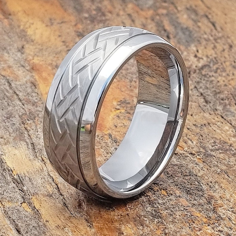 c911f10473dac Matte Tungsten Ring, Men's Tungsten Ring, Signet Ring, Tungsten Band, Men's  Wedding Ring, Gray Ring, Dome Ring, Brushed Ring, Two Tone Ring