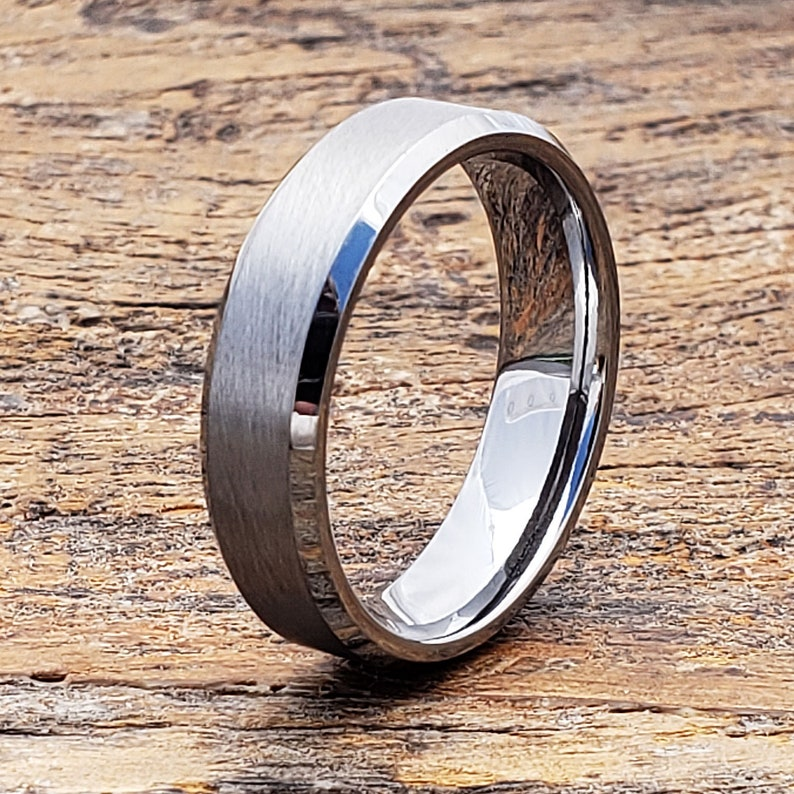 Brushed Tungsten Ring Anniversary Ring Mens Wedding Band Etsy