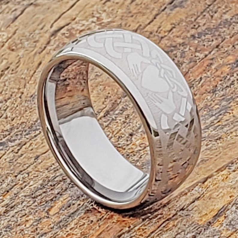 Men Tungsten Ring Celtic Ring Celtic Knot Ring Promise Ring Couples Claddagh Ring Men/'s Engagement Band Tungsten Ring Girlfriend Gift