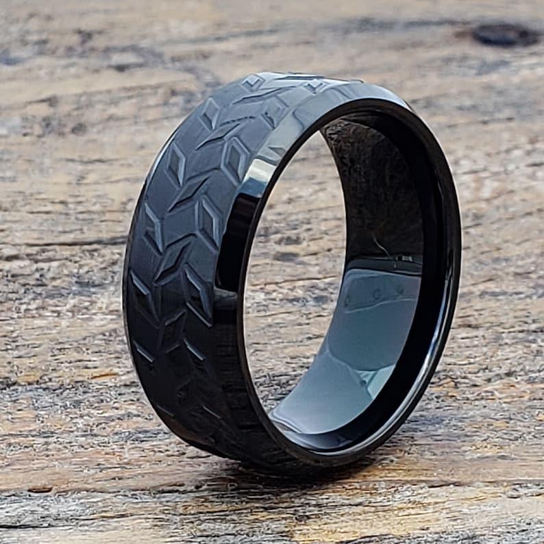 9f71f6736243 Signet Tungsten Ring Diamond Plate Ring Unique Wedding Band