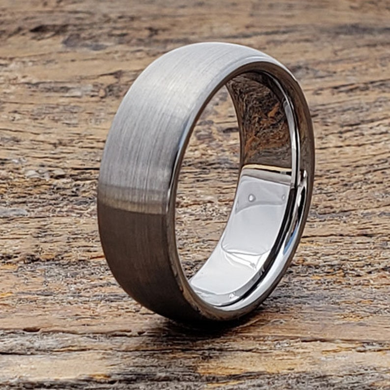 43fbe7b1b6e6 Brushed Tungsten Ring Matte Wedding Band Mens Engagement