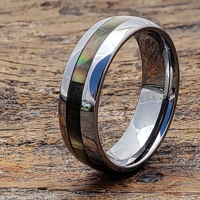 Engagement Gift Mens Engagement Band Men/'s Wedding Ring Handcrafted Personalized Ring Mens Wedding Band Tungsten Inlay Ring Shell Ring