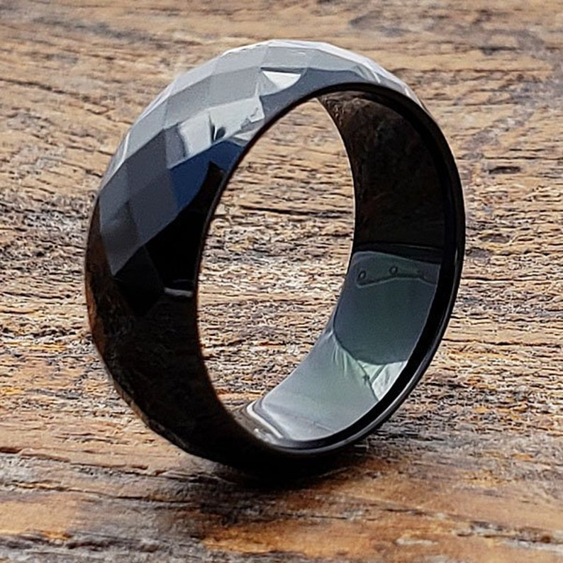 7212bc032059 Black Faceted Ring Black Tungsten Ring Black Wedding Band