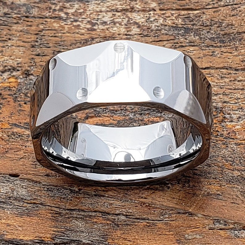 Polished Carved Wedding Band Gift for Dad Unique Silver Ring Silver Wedding Band Rings for Men Silver Wedding Ring Unique Mens Ring
