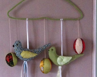 hanging mobile colorful bird and eggs
