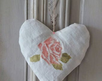 door cushion pink Lavender shabby heart pattern