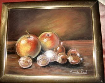 Still life pastel apples and nuts in pastel