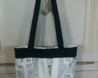 Tray black and white newspaper print tote bag