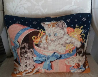 Vintage cat tapestry Cushion cover