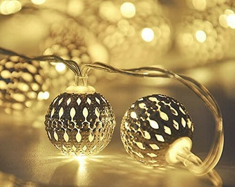 Silver Moroccan Lights, Silver Fairy Lights, String lights, Moroccan Lights, Battery Operated Lights, Silver Festive Lights, Filgree lights,