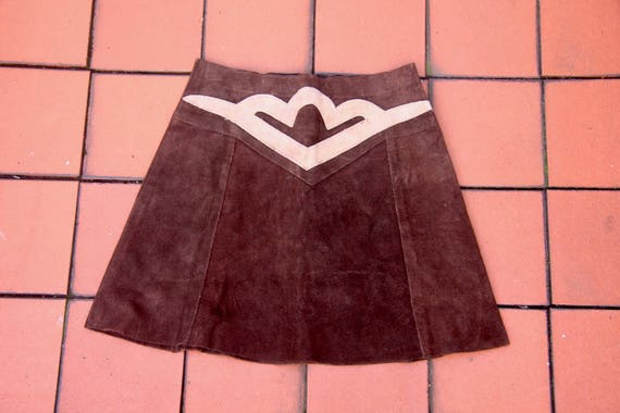 Vintage Chelsea Girl Suede Mini Skirt Mod/Hippy 60