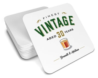30th Birthday Gift Idea Drinks Coaster Vintage 1988 Womens Mens Present For Her Him Husband Wife Keepsake Party Prop