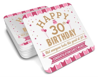30th Birthday Gift Idea Drinks Coaster 1988 Womens Present For Her Female Wife Keepsake Party Prop
