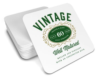 60th Birthday Gift Idea Drinks Coaster Vintage 1958 Womens Mens Present For Her Him Husband Wife Keepsake Party Prop