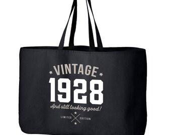 90th Birthday, 90th Birthday Idea, Great 90th Birthday Present, 90th Birthday Gift 1928 Birthday, 90th Birthday Bag, Tote, Shopping Bag