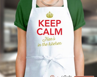 Nan Gift, Birthday Gift For Nan! Funny Apron, Keep Calm, Nans In The Kitchen, Cooking Gift, Awesome Nan, Personalized, Alternative Nan Shirt