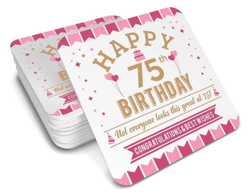 75th Birthday Gift Idea Drinks Coaster 1943 Womens Present For
