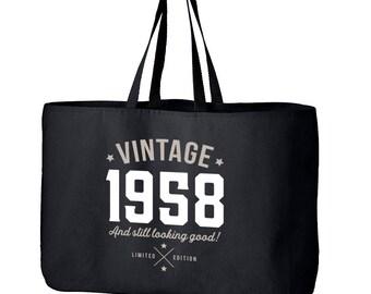 60th Birthday, 60th Birthday Idea, Great 60th Birthday Present, 60th Birthday Gift 1958 Birthday, 60th Birthday Bag, Tote, Shopping Bag