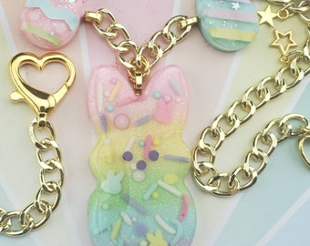 Kawaii Rainbow Candy Wrapper Pendants with REAL Sprinkles