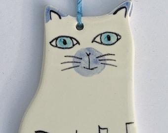 Ceramic hand painted kitten decoration