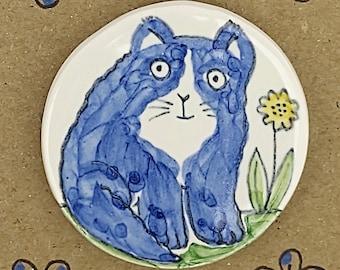 Handmade blue cat ceramic fridge magnet
