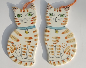 Pair of ginger tabby cat decorations