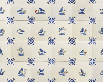 Handmade and hand painted Bird and flower tiles
