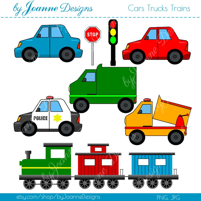 Cars Trucks Trains Boys Colorful Digital Clip Art - Commercial or Personal  Use - Scrapbooking, Card Making, Graphics Clip Art, Kids, Boys