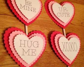 Valentine cupcake toppers, Valentines day cupcake toppers, Cupcake toppers, Valentines day decorations, Heart cupcake toppes,