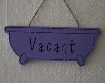 Silver on Black VACANT Lovely Decorative Handcrafted Wooden sign ENGAGED