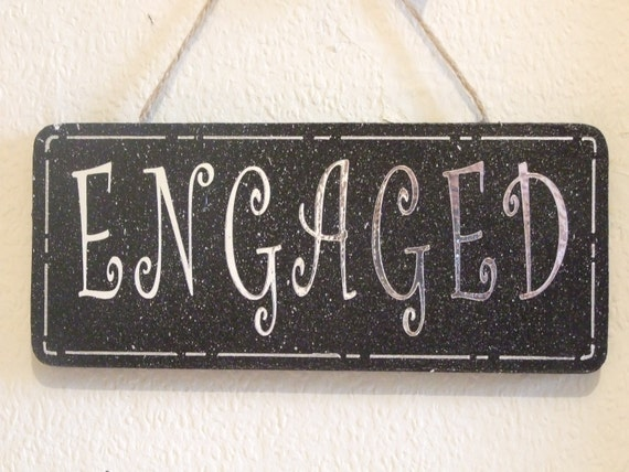 Decorative Handcrafted Wooden Bath shaped Jaded Teal//White ENGAGED//VACANT Sign