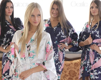 Mix&Match Bridesmaid Robes, Set of Bridesmaid Robes, Floral Kimono Robes, Bridesmaid Gift, Wedding Robes, Dressing Gown, Bridal Party Robes
