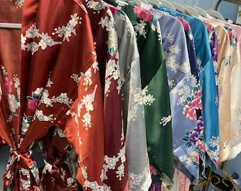 Bridesmaid Robes, Bridesmaid Gift, Satin Bridesmaids Robe, Kimono Robe, Floral Bridal Robe, Bridesmaid Proposal, Burnt Orange Robe