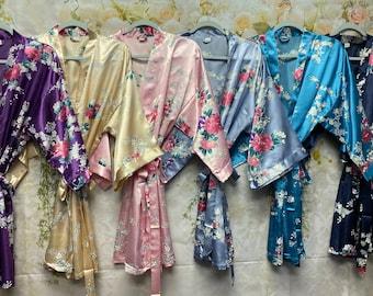 Bridesmaid Robes, Bridesmaid Gift, Satin Bridesmaids Robe, Kimono Robe, Floral Bridal Robe, Bridesmaid Proposal