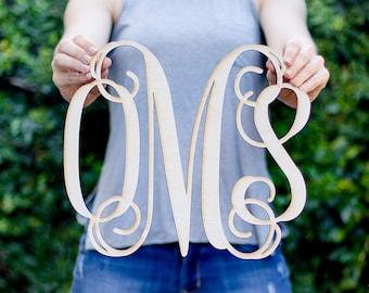 Vine Monogram Cut Wood Sign - Custom Monogram Gift, Personalized Wooden Monogram, Monogram Wedding Gift, 5 Year Anniversary, Vine Monogram