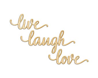 Live Laugh Love Wood Cut Laser Sign Wall Decor Quote Wooden Anniversary Gift