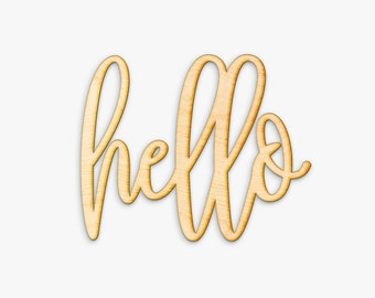 Hand Drawn Hello Wood Sign - Hello Wood Sign, Hostess Gift, Wood Script, Home Sign, Housewarming Gift, Gift for Her, Hello Door Sign