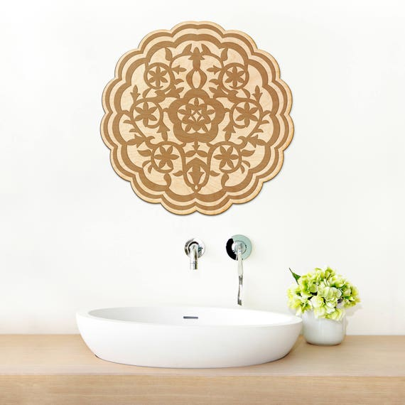 Moroccan Flower Wood Engraved Sign Spiritual Wall Art Etsy